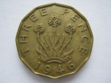 1946 George VI brass Threepence GVF