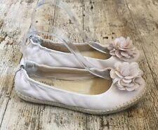 HOTTER SMOOTHIE Nude Beige Leather Espadrille Ballet Flat Shoes ~UK 5~ Floral