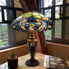 "Table Lamp Stained Glass Shade 2 Light Lit Base Tiffany Style Vintage 18"" D"