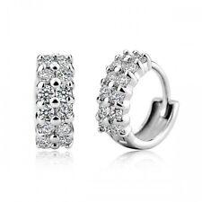 18K Gold GP Made with SWAROVSKI Element Lab Diamond Huggie Hoop Stud Earrings
