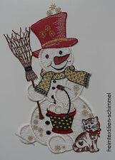 PLAUENER SPITZE ® Fensterbild WEIHNACHTEN Winter SCHNEEMANN Katze Dekoration