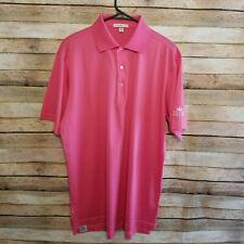 Peter Millar Mens Short Sleeve Hot Pink Polo Golf Shirt Medium Embroidered EUC