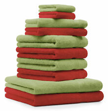 10-tlg. Handtuch Set Classic - Premium, Farbe: Rot & Apfel-Grün, 2 Seiftücher 30