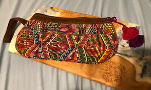Nena & Co Woven Wristlet Clutch Peace Pilgrim Guatemala Brown Floral
