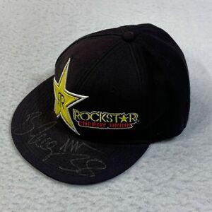 Rockstar Energy Drink Hat Adult 7 1/2 Black Logo Signed Brian Deegan 38 Racing