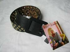 BETSEY JOHNSON Black/Gold Faux Leather Square Buckle Belt Size S/M
