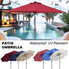 7.5/9/10ft Patio Umbrella Solar LED Parasol UV Resistant Market Umbrella Outdoor