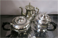 3 x Vintage Silver Plated EP Art Deco Coffee or Teapots