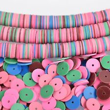 "8mm Recycled Vinyl Beads MIXED COLORS 16"" strand x550-575 beads bac0355"