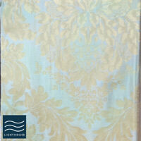 Luxury Shimmering Aqua Duck Egg Blue Floral Pencil Pleat Lined Curtain Pair