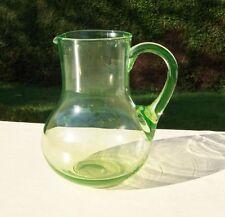 Antique Green Uranium Hand Blown Glass Jug / Pitcher