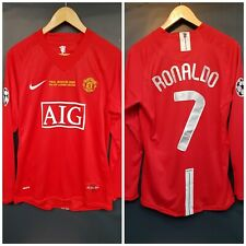 RONALDO 7 Manchester United 2008 Champions League Final Shirt Large Long Sleeve