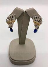 Solid 18k Multi-tone Gold Blue Sapphire Diamonds Earrings