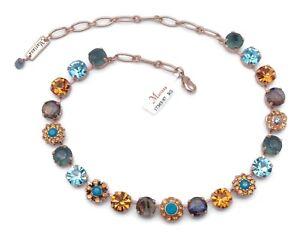 Mariana 1323 Jasmine Topaz & Aqua Mix Swarovski Rose Gold Plated Necklace NWT