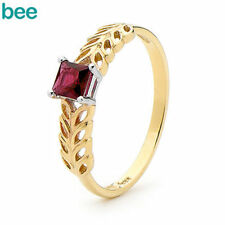 Solitaire Ruby Yellow Gold Fine Rings