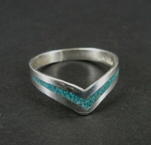 Ring Silver Turquoise Stone Inlay Chevron V Sterling 925 Band Size 7 Ring
