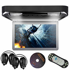 """13.3"""" LCD Car Flip Down Roof Mount Monitor DVD Player Speaker Game 2 IR Headsets"""