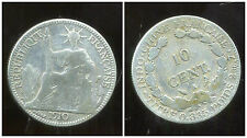 INDOCHINE  10  cent 1910  ARGENT