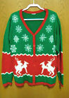 Ugly Christmas Sweater Button Up Extra Large Red Green With Humping Reindeer
