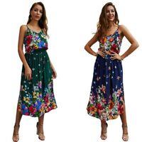 Women beach sundress cocktail maxi dress long party floral boho evening summer
