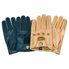 Mens soft Goat Skin Leather Driving Gloves Unlined Full Finger Vintage Style 521