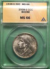 1938 S DANIEL BOONE SILVER  COMMEMORATIVE HALF DOLLAR PCGS  MS66 RARE SHARP!