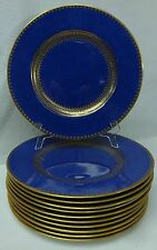 WEDGWOOD china W357 GOLD & COBALT BLUE Set 11 Dinner or Service Plates - 10-5/8""