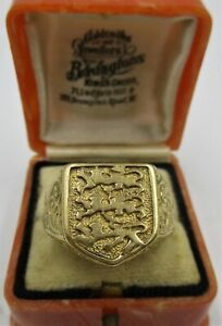 Nice Weighty 9ct Gold Hallmarked 'ENGLAND' 3 Lions Gents Ring - UK Ring Size: U.