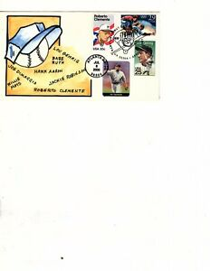 20c Stamp (1984) - ROBERTO CLEMENTE  Hand Painted FDC  (mb17