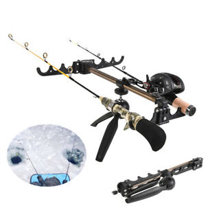 Foldable 4 Groove Ice Fishing Rod Holder Tripod Floor Stand Fishing Pole Bracket