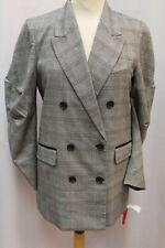 NEW JOIE Tomika Black Gray Plaid Boyfriend Blazer Ruched Slv Jacket Coat 12 $398