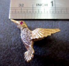 Eye Diamond Brooch Pin Pendant/ 3.35 Gram Vtg 14K Solid Y. Gold Hummingbird Ruby