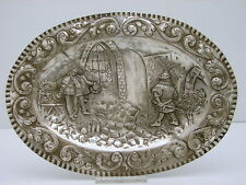 European Hallmarked Sterling Silver Chased Tray Figural Scene Swordsman n Street