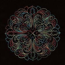 Twelve Embroidered Quilt Blocks: KALEIDOSCOPE - FALL COLORS -VARIEGATED ON BLACK