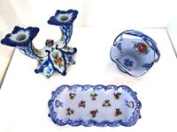 Vestal Alcobaca Portugal Ceramic Vintage Blue Hand Painted Set Of 3