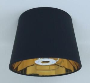 20 cm Lampenschirm Schwarz Stoff Gold Futter für Tischlampe Handgemacht