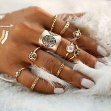 UK BOHO 9PC GOLD STATEMENT RING SET Tribal Gypsy Festival Bohemian Jewellery