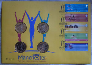 2002 MANCHESTER COMMONWEALTH GAMES - 4 x £2 COIN COVER SET TWO POUND PNC FDC