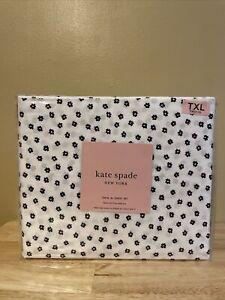 Kate Spade New York Twin XL Sheet Set, White w/Navy Blue Mini Flowers NEW!