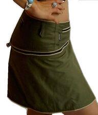 GREEN zip utility belt pockets short SKIRT S M 10 12 14 psy goa cyber punk alt