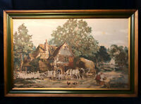 "Vintage Framed Tapestry Gilded Frame 51.5""x33.5"" Victorian Cottage Farm Scene"
