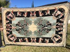 """Vintage VICTORIAN Wool Needlepoint Carpet/Tapestry 104"""" X 67"""" Beautiful colors"""