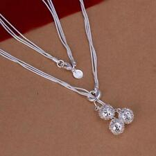 Women's Jewelry Sterling 925 Silver Gift Fashion Necklace Ball Pendant UK SELLER