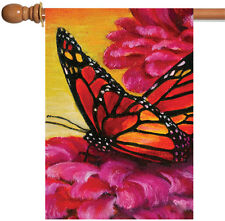New Toland - Painted Monarch on Pink - Bright Butterfly Flower House Flag