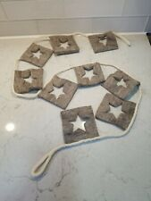 6ft Pottery Barn Kids Wool Star Flag Garland Natural hanging Cream Brown