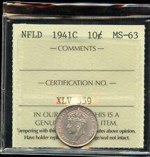 1941c Newfoundland Ten Cents - ICCS MS-63