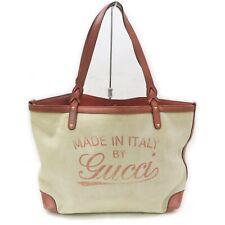 Gucci Tote Bag Logo Browns Canvas 1407419