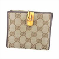 Gucci Wallet Purse G logos Brown Beige Woman unisex Authentic Used T5926