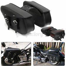 2X Motorcycle Side Leather Saddlebags Saddle Bag Pannier Motorbike Bags Black