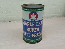 Vintage advertising maple leaf anti-freeze motor oil tin can sign gas